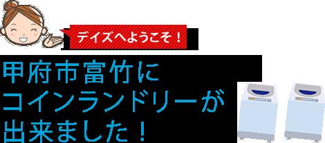 デイズへようこそ!甲府市富竹にコインランドリーが出来ました !